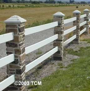 Stone Pillar with Ranch Rail Fence