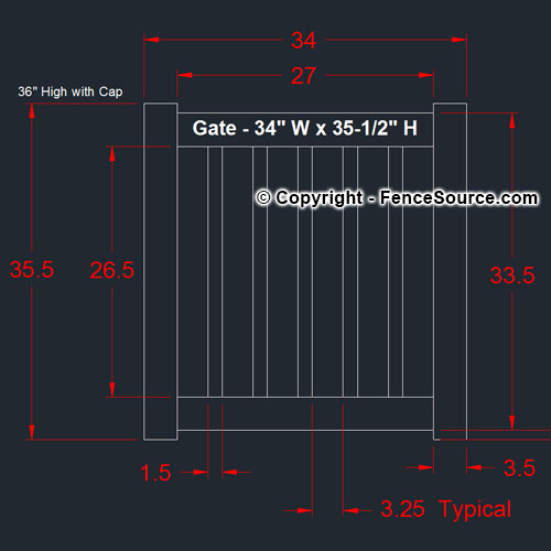 PVC Gate dimensions 34 x 35.5